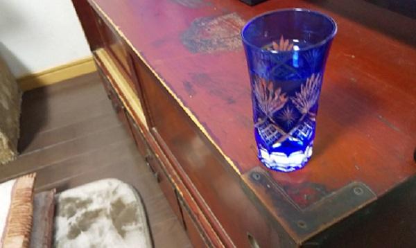 切子グラスに純米吟醸酒